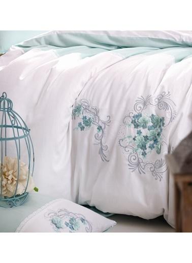 Cotton Box Pamuk Saten 3D Nakisli Çift Kisilik Nevresim Takımı Lena Mint Yeşil